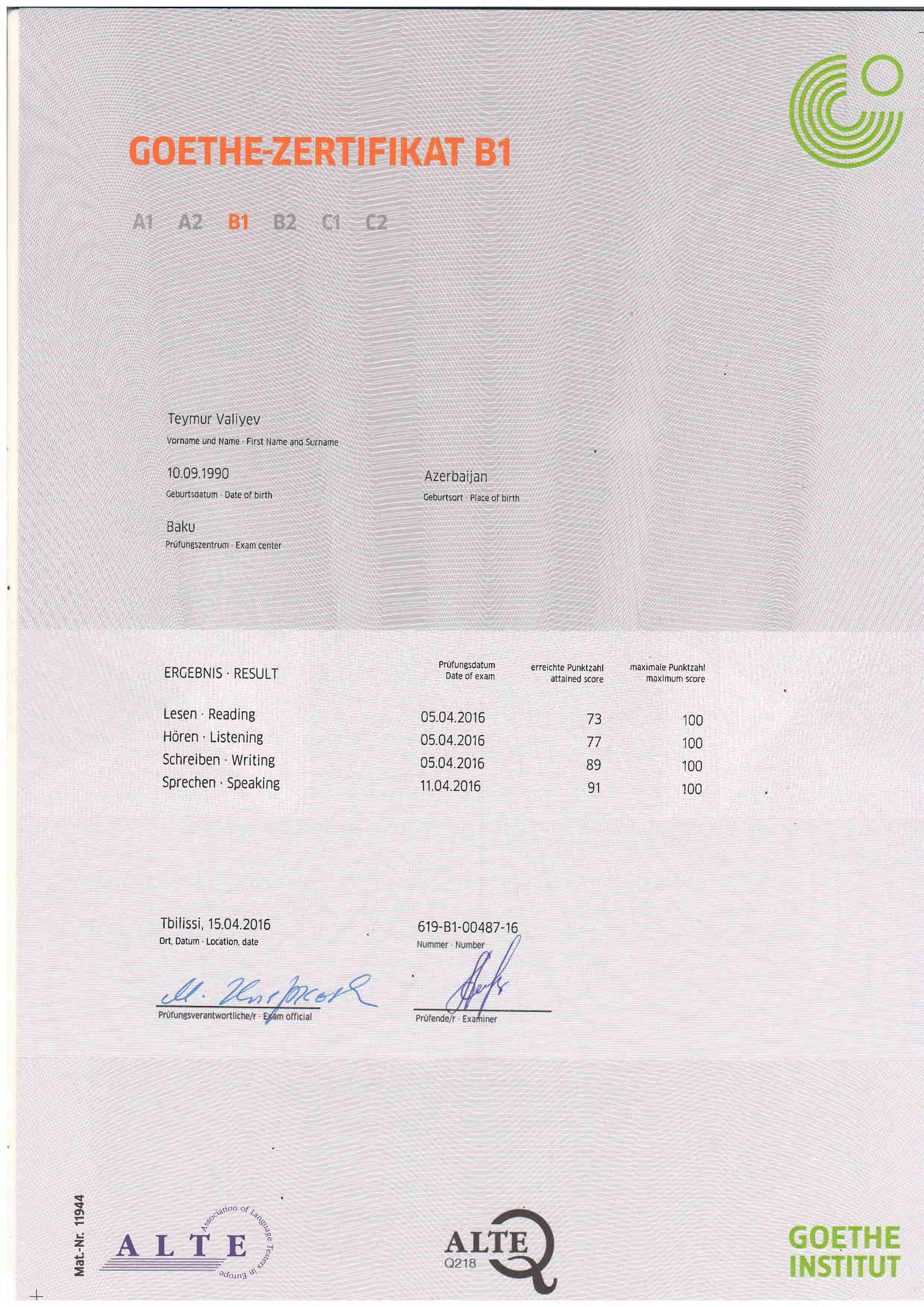 erworbene zertifikate meiner deutschlerner  u2013 effektiv